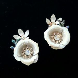 Enamel and Crystal Clip-on Earrings